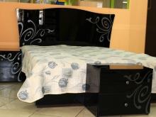 кровать двух-спальная, черный глянец