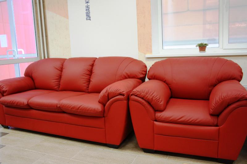 Кожаный красивый диван